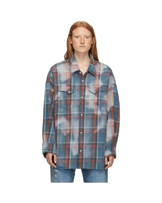 R13 Blue And Red Oversized Cowboy Shirt