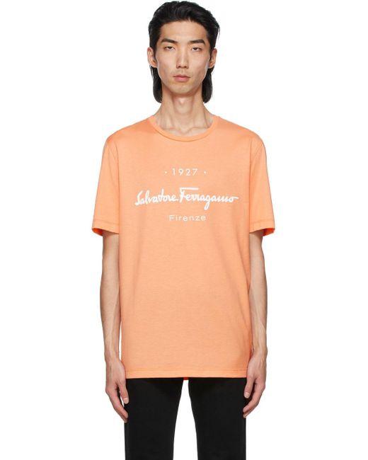 Ferragamo Orange '1927' Signature T-shirt for men