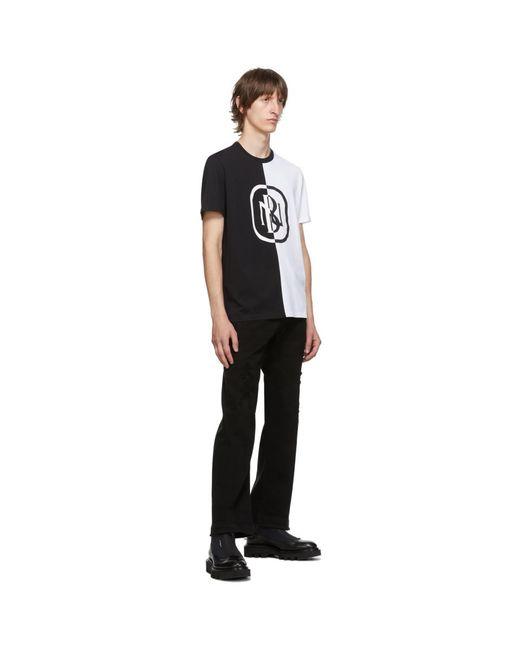メンズ Neil Barrett ブラック And ホワイト ニュー ロゴ T シャツ Black