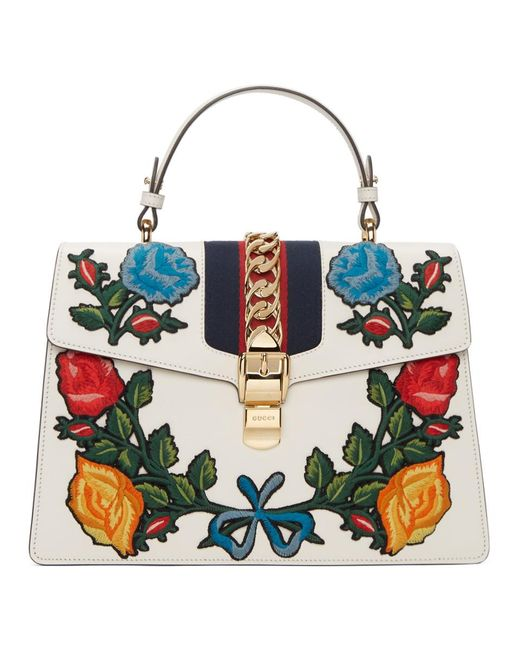Gucci - White Sylvie Embroidered Leather Top-handle Satchel Bag - Lyst