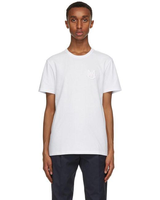 メンズ Moncler ホワイト ロゴ T シャツ White