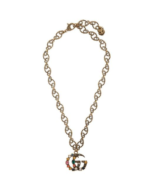 Gucci ゴールド クリスタル マーモント ネックレス Metallic