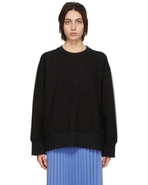 MM6 by Maison Martin Margiela ブラック & グレー スウェットシャツ Black