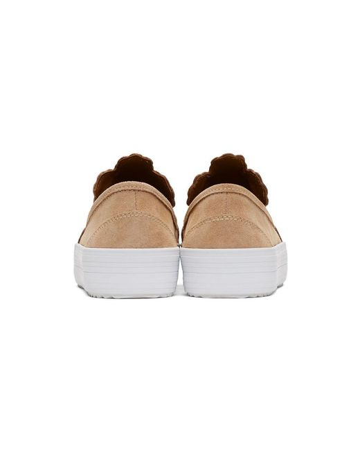 Chloé Suede Flower Cut-Out Slip-On Sneakers NUKaKv