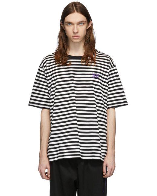 メンズ Needles ホワイト & ブラック ストライプ ロゴ T シャツ Black