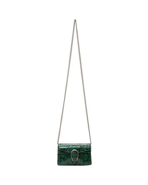 Gucci Green Super Mini Snakeskin Dionysus Bag