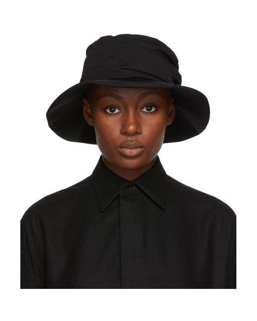 Y's Yohji Yamamoto ブラック ウール Gabardine Panel ハット Black