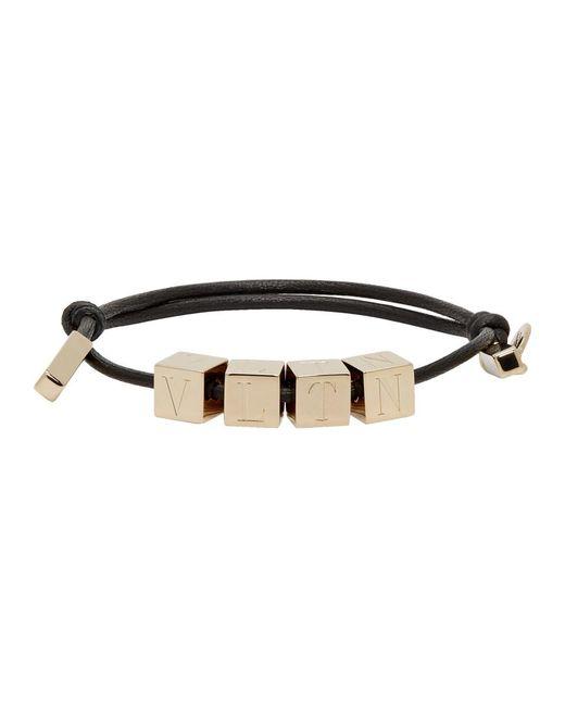 Valentino - Metallic Gold Garavanni Vltn Bead Bracelet for Men - Lyst