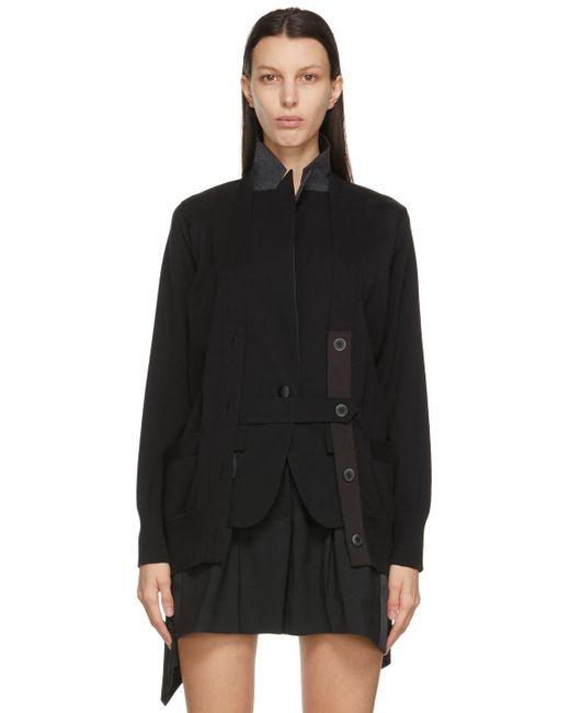 Sacai ブラック Knit & Suiting カーディガン Black