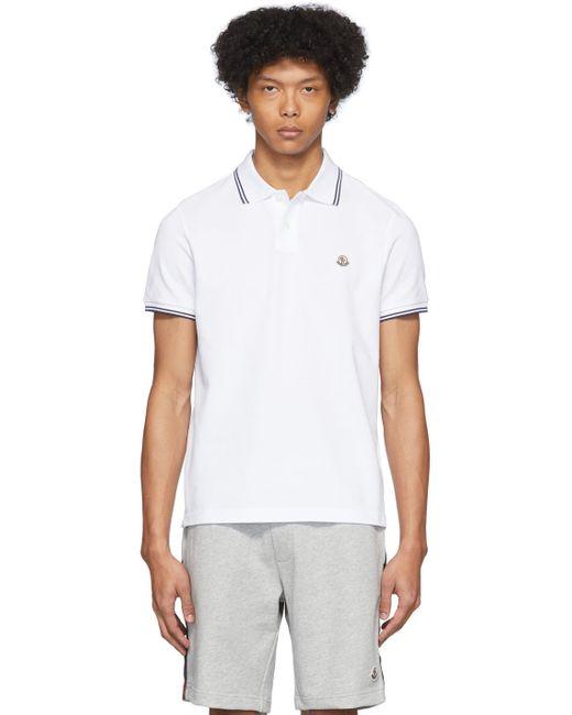 メンズ Moncler ホワイト ロゴ パッチ ポロ White