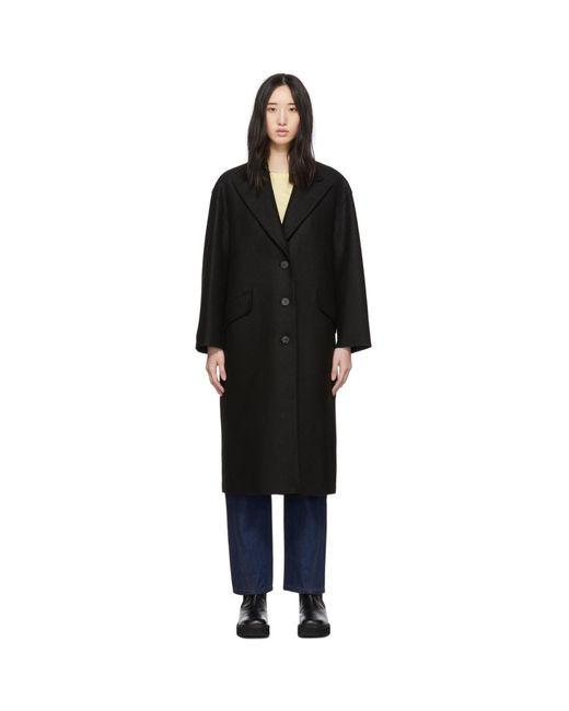 Harris Wharf London ブラック プレス ウール オーバーサイズ Great コート Black