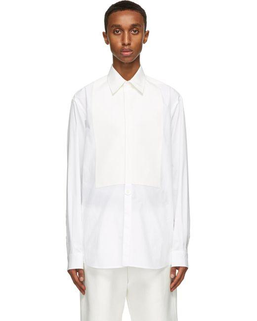 メンズ Valentino ホワイト Plastron シャツ White