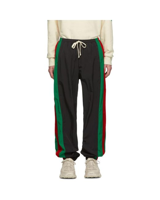 メンズ Gucci ブラック ウォータープルーフ ジョギング パンツ Black