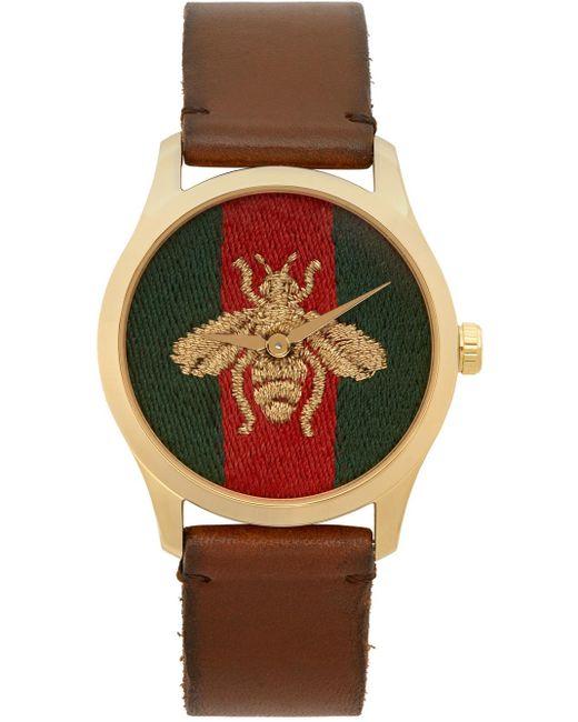 Gucci ゴールド & ブラウン ミディアム G-timeless Bee ウォッチ Brown