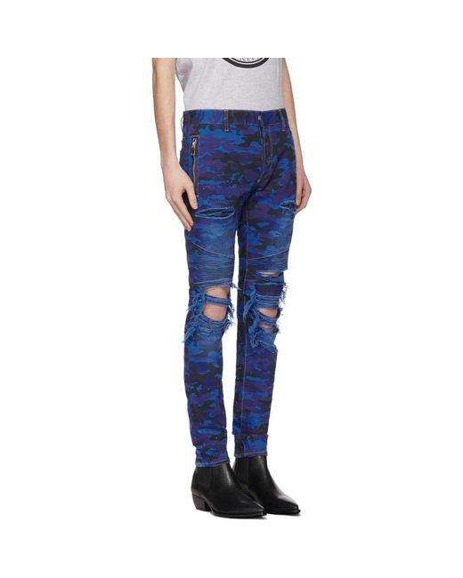 fce27b33 Balmain Blue Camo Slim Jeans in Blue for Men - Save 34% - Lyst