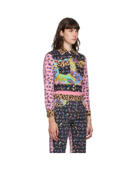 Versace Jeans マルチカラー デニム ミックス プリント ジャケット Multicolor