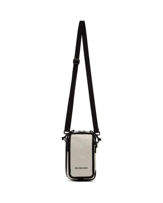 メンズ Balenciaga ホワイト ロゴ エクスプローラー Explorer ポーチ バレンシアガ White
