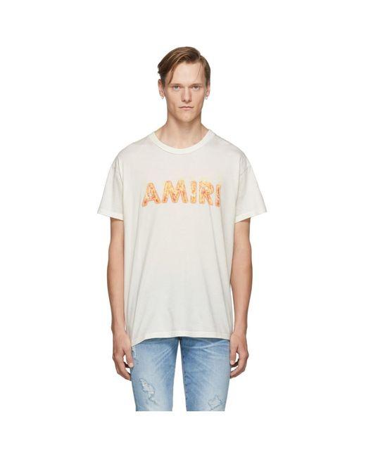 メンズ Amiri Ssense 限定 オフホワイト フレーム ロゴ T シャツ Multicolor