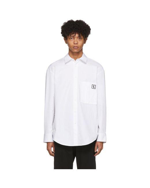メンズ Wooyoungmi ホワイト クレスト プレイン Workstitch シャツ White