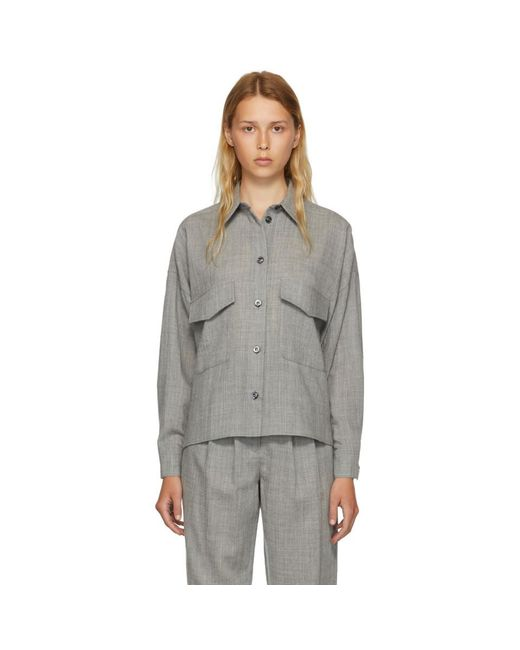 MM6 by Maison Martin Margiela - Gray Grey Wool Casual Tailoring Shirt - Lyst