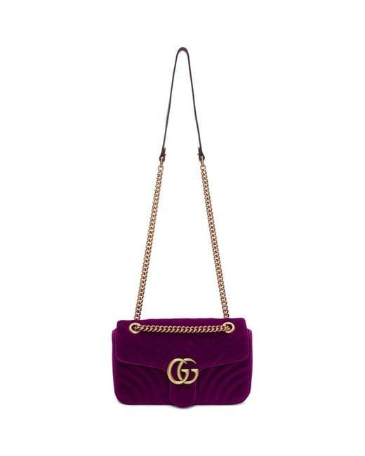 9ea943c45c09 Gucci - Multicolor Pink Small Velvet GG Marmont 2.0 Bag - Lyst ...