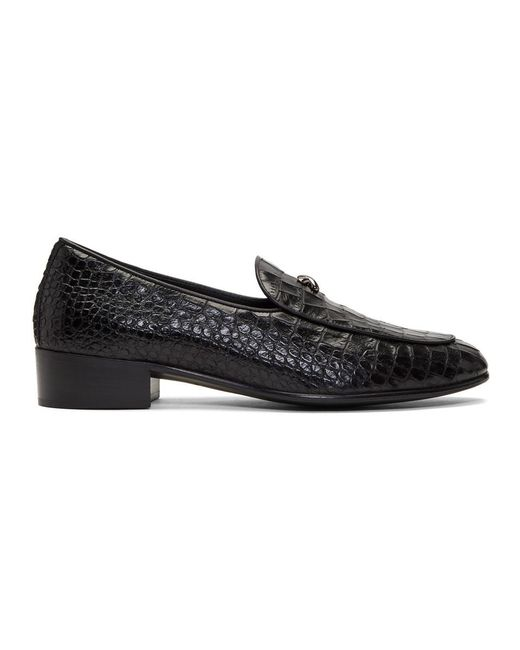 46483568d3c Lyst - Giuseppe Zanotti Black Croc Zanzaroun Loafers in Black for Men