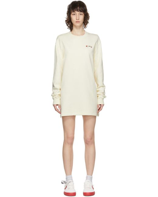 Off-White c/o Virgil Abloh ベージュ Embroidered Floral Arrows Sweatshirt ドレス Natural