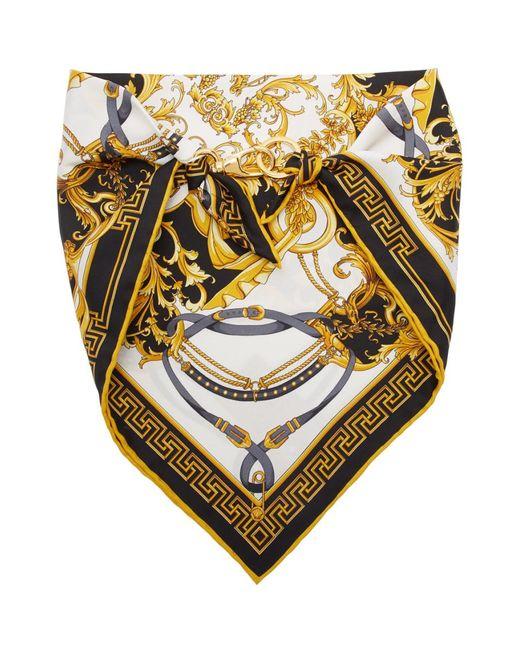 Versace ブラック シルク Barocco バンダナ スカーフ Black