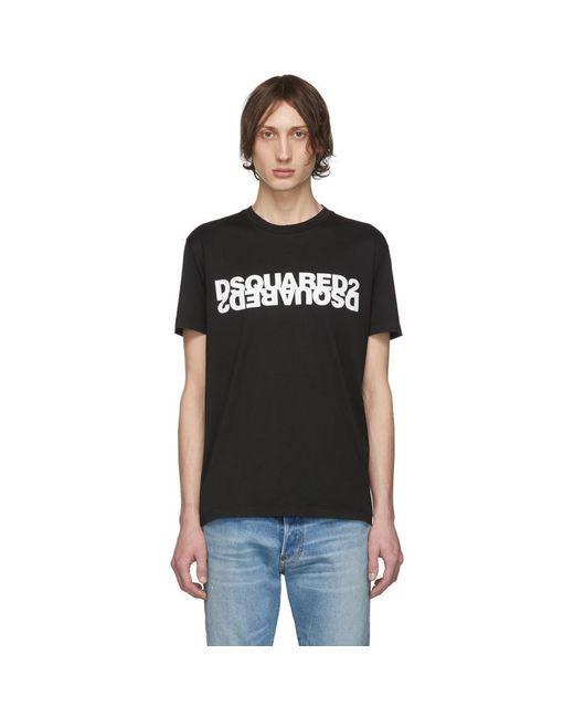 メンズ DSquared² ブラック ミラー ロゴ T シャツ Black
