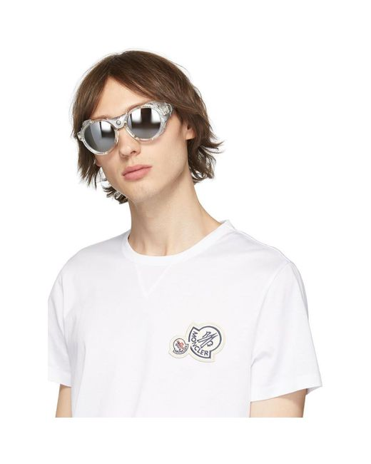 Moncler Men's Metallic Silver Leather Ml0046 Sunglasses