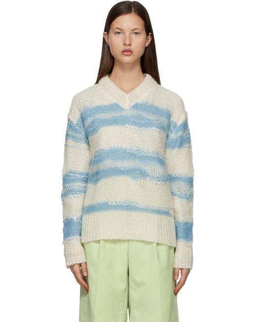 Acne オフホワイト & ブルー ストライプ セーター Blue