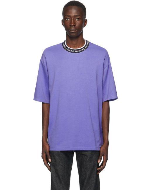 メンズ Acne パープル ジャカード ロゴ T シャツ Purple