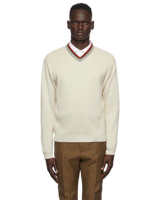 メンズ Gucci オフホワイト V ネック セーター White