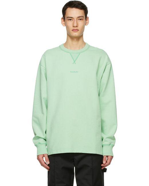 メンズ Acne グリーン ロゴ スウェットシャツ Green