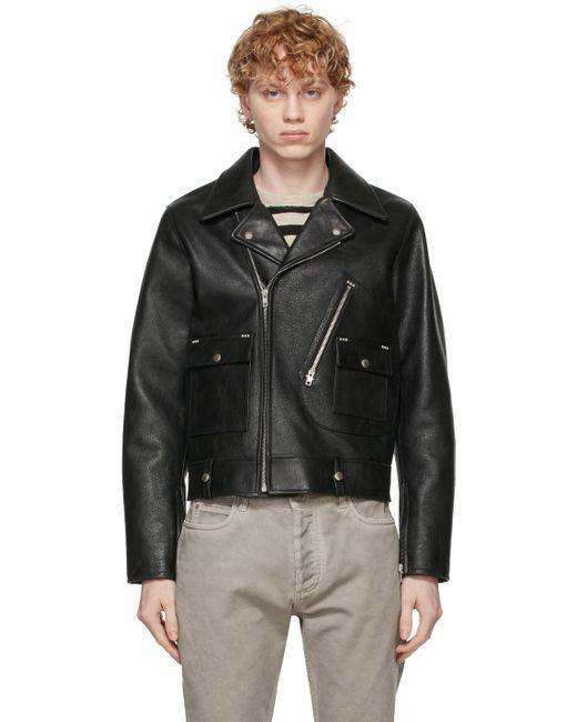 メンズ Maison Margiela ブラック バイカー ジャケット Black