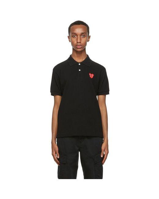 メンズ COMME DES GARÇONS PLAY ブラック ダブル ハート ポロシャツ Black