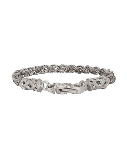 Emanuele Bicocchi - Metallic Silver Tiny Braided Bracelet for Men - Lyst