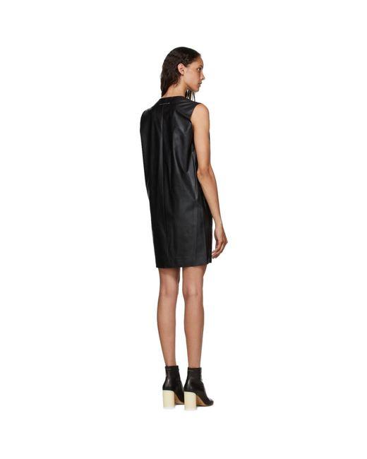 MM6 by Maison Martin Margiela ブラック フェイクレザー ドレス Black