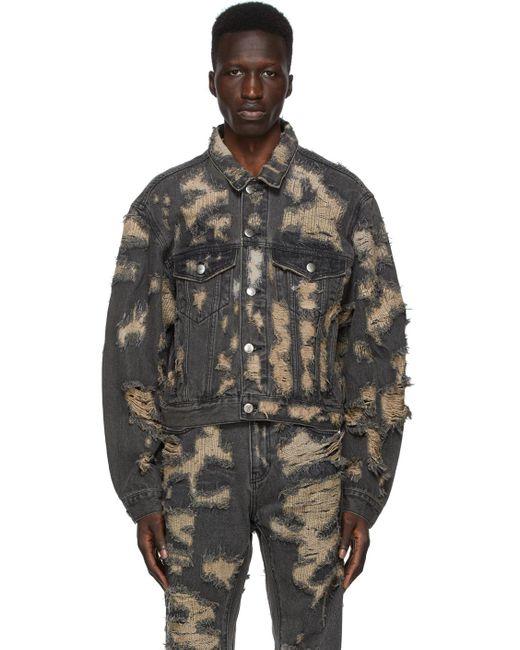 メンズ we11done ブラック デニム Destroyed ジャケット Black
