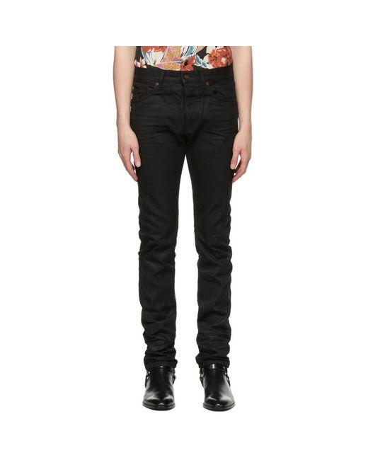 メンズ Saint Laurent ブラック コーティング スリムフィット ジーンズ Black