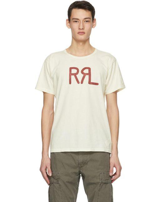 メンズ RRL オフホワイト ロゴ T シャツ Natural