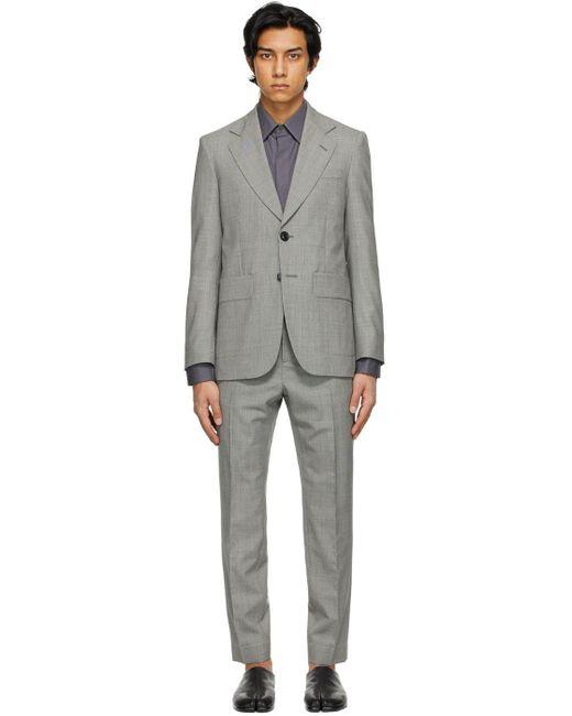 メンズ Maison Margiela ブラック & オフホワイト Microfantasy スーツ Gray