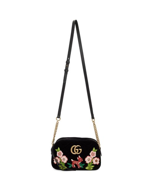 9af3246525e0 Lyst - Gucci Black Small Velvet GG Marmont 2.0 Camera Bag in Black