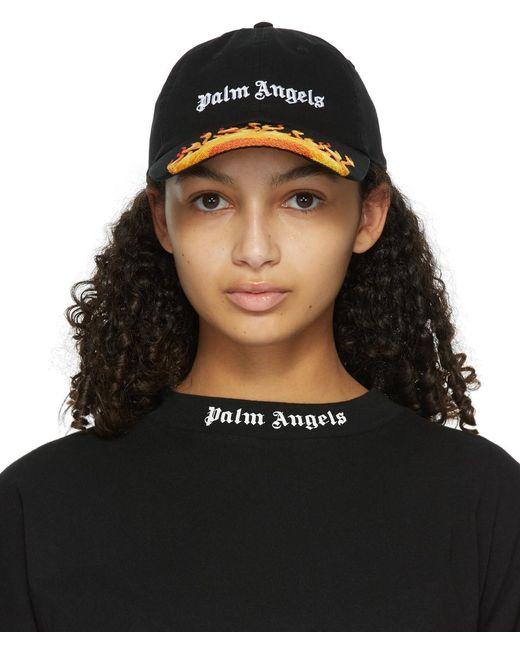 Palm Angels ブラック Flames キャップ Black