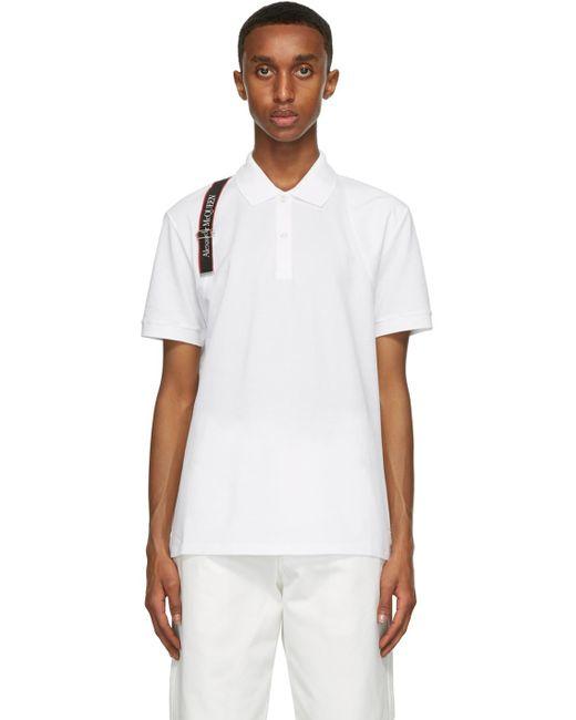 メンズ Alexander McQueen ホワイト ロゴ ハーネス ポロシャツ White