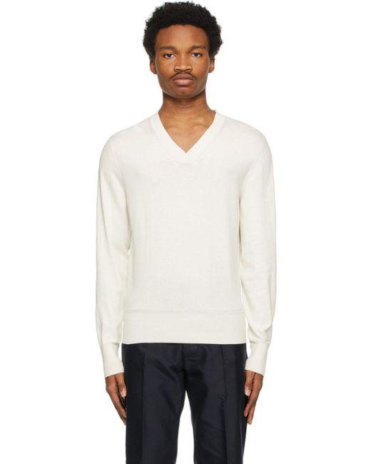 メンズ Tom Ford オフホワイト V ネック セーター White