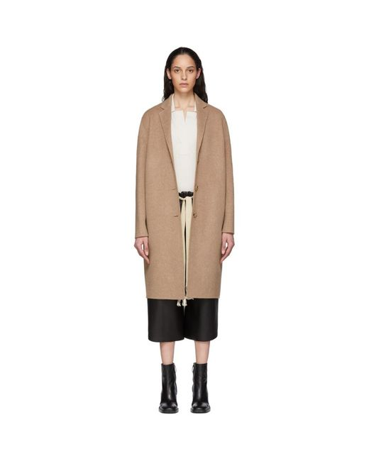 Acne Natural Tan Wool Single-breasted Coat
