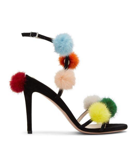 Fendi - Black Pom Pom Naked Sandals - Lyst