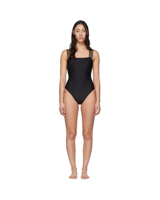 Versace Black Neck Empire One-piece Swimsuit