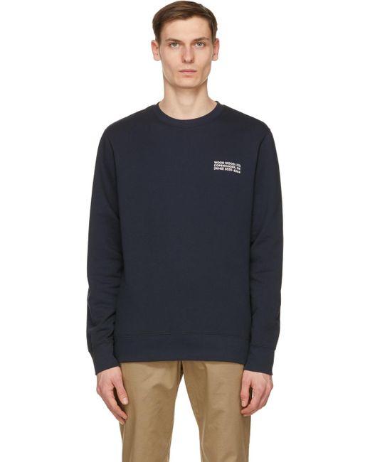 WOOD WOOD Blue Navy Hugh Info Sweatshirt for men